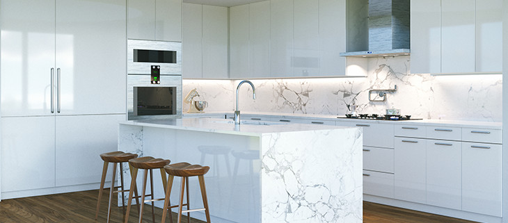 Elegant-white-kitchen-with-marble-island-in-the-middle